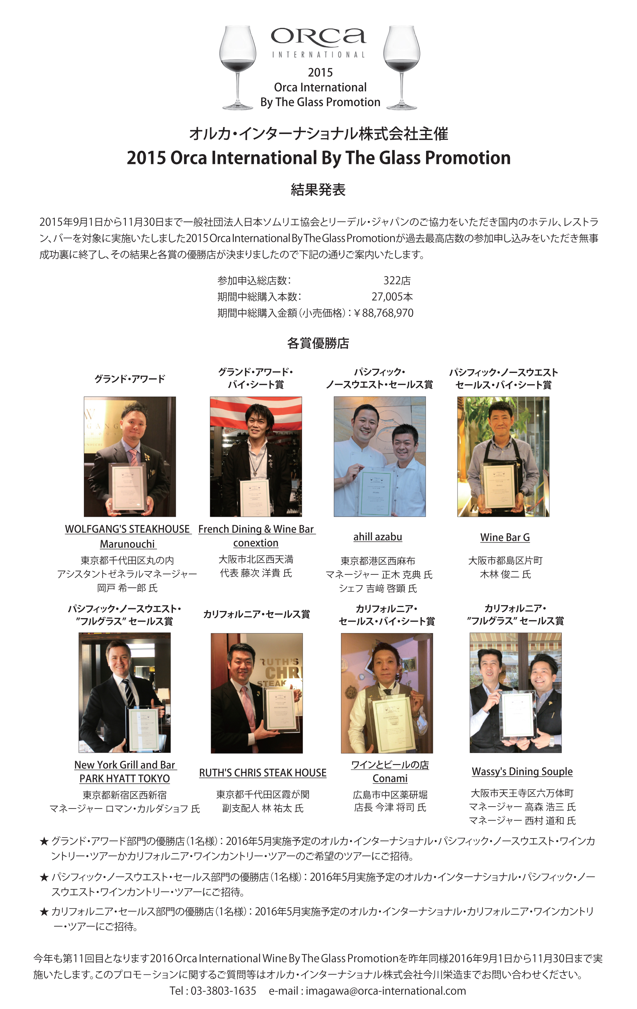 2015 Orca Int'l By the Glass Promotion Result